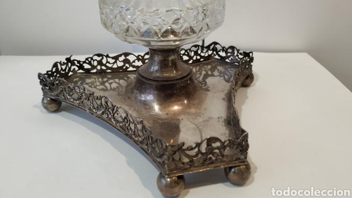 Antigüedades: Tintero antiguo de plata. Plata y cristal antiguo. Plata antigua. - Foto 3 - 177832402