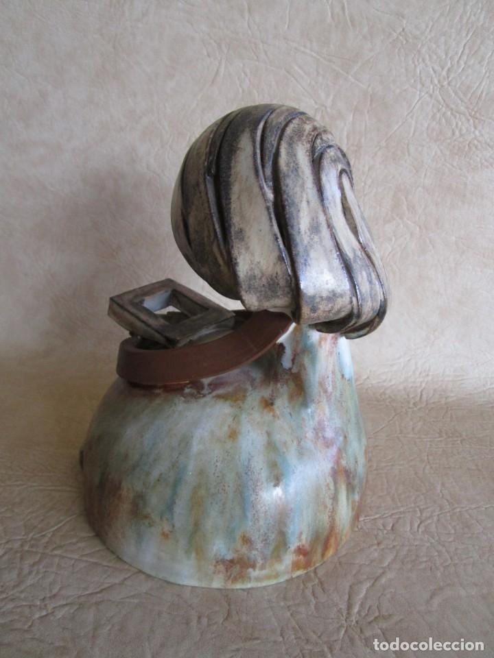 Antigüedades: figura ceramica mujer con libro firmado elisa - Foto 6 - 177862040