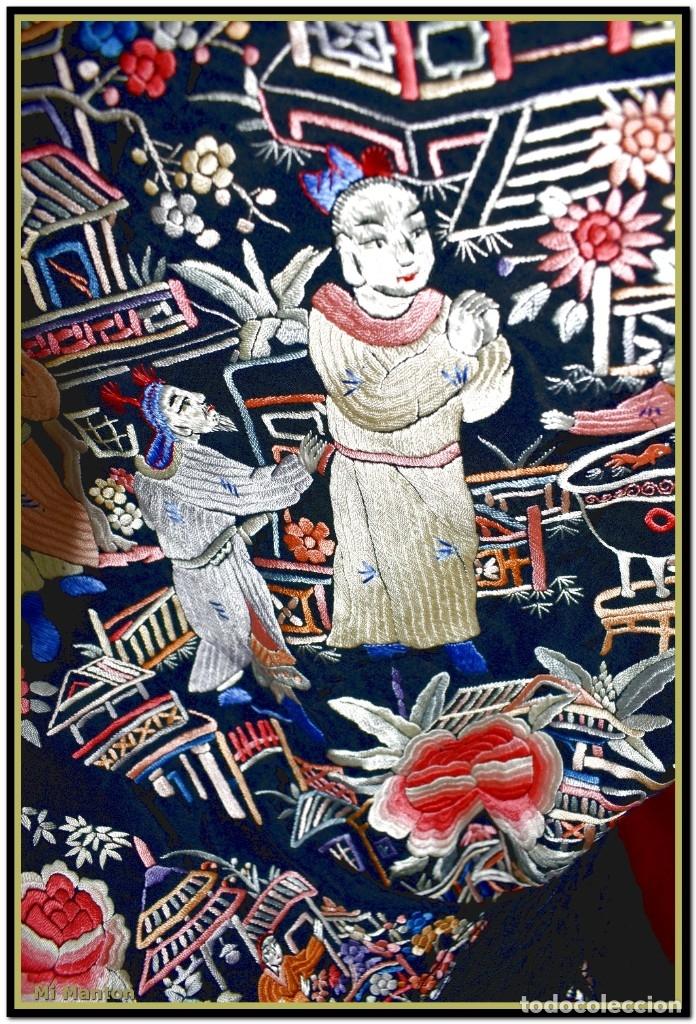 Antigüedades: Mi Manton. Mantón de Manila antiguo cantones chinos de gran tamaño peso mas de 2 KG - Foto 3 - 177874805