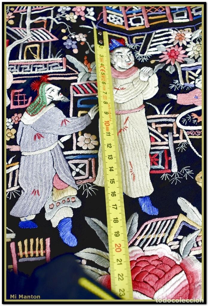 Antigüedades: Mi Manton. Mantón de Manila antiguo cantones chinos de gran tamaño peso mas de 2 KG - Foto 4 - 177874805