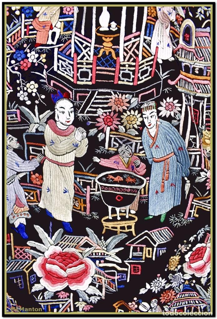 Antigüedades: Mi Manton. Mantón de Manila antiguo cantones chinos de gran tamaño peso mas de 2 KG - Foto 6 - 177874805