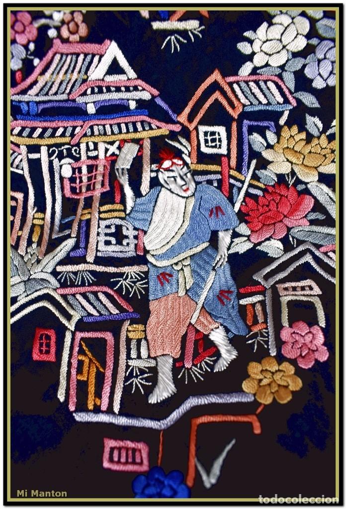 Antigüedades: Mi Manton. Mantón de Manila antiguo cantones chinos de gran tamaño peso mas de 2 KG - Foto 7 - 177874805
