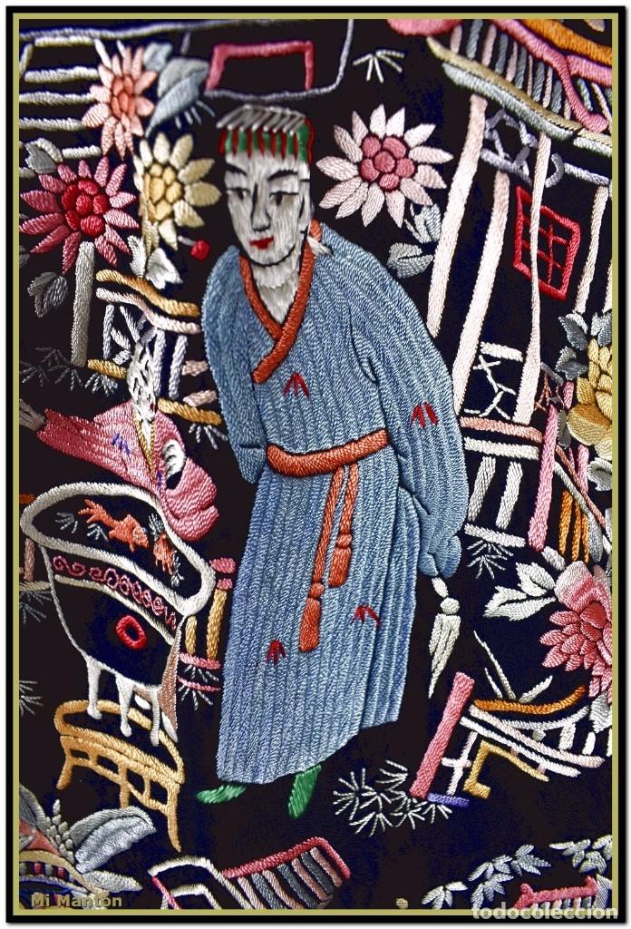 Antigüedades: Mi Manton. Mantón de Manila antiguo cantones chinos de gran tamaño peso mas de 2 KG - Foto 9 - 177874805