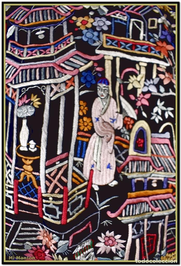 Antigüedades: Mi Manton. Mantón de Manila antiguo cantones chinos de gran tamaño peso mas de 2 KG - Foto 10 - 177874805