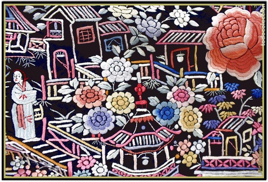 Antigüedades: Mi Manton. Mantón de Manila antiguo cantones chinos de gran tamaño peso mas de 2 KG - Foto 11 - 177874805