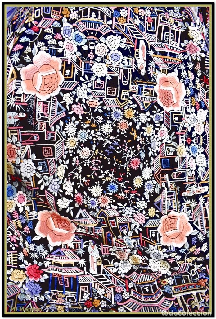 Antigüedades: Mi Manton. Mantón de Manila antiguo cantones chinos de gran tamaño peso mas de 2 KG - Foto 12 - 177874805