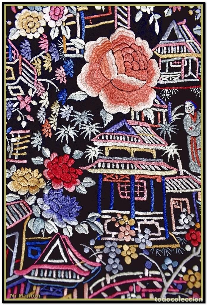 Antigüedades: Mi Manton. Mantón de Manila antiguo cantones chinos de gran tamaño peso mas de 2 KG - Foto 13 - 177874805