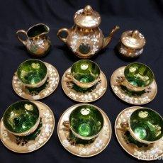 Antigüedades: JUEGO DE TÉ O CAFÉ DE CRISTAL DE BOHEMIA. PARA 6 PERSONAS.. Lote 177942287