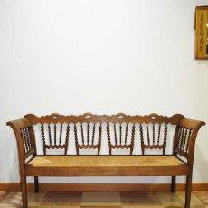 Antigüedades: SOFÁ ANTIGUO BARROTILLOS Y ASIENTO DE ENEA . Lote 177944650