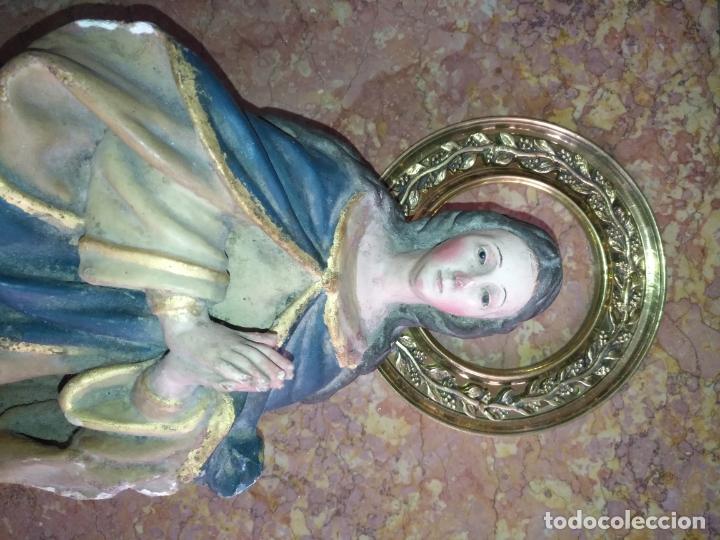 Antigüedades: 1 guanicion metal ideal torta bronce corona resplandor de virgen gran tamaño y grosor. semana santa - Foto 5 - 252380330