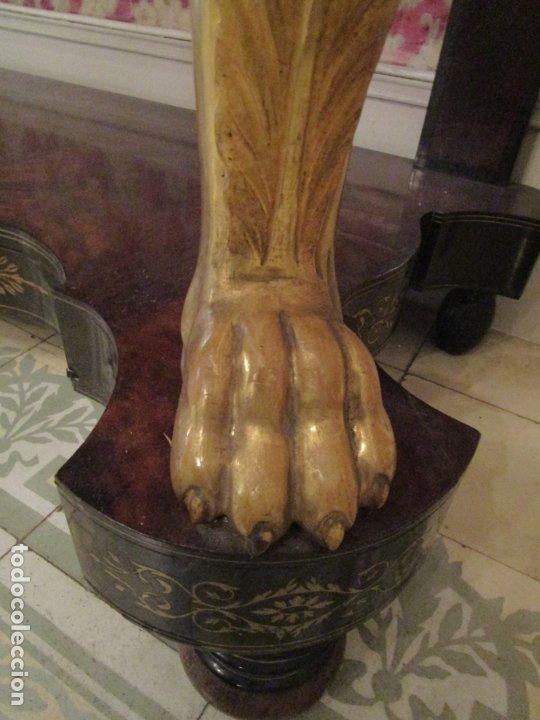 Antigüedades: Preciosa Consola Isabelina - Madera Tallada y Dorada en Pan de Oro - Marquetería en Latón - S. XIX - Foto 8 - 177980210