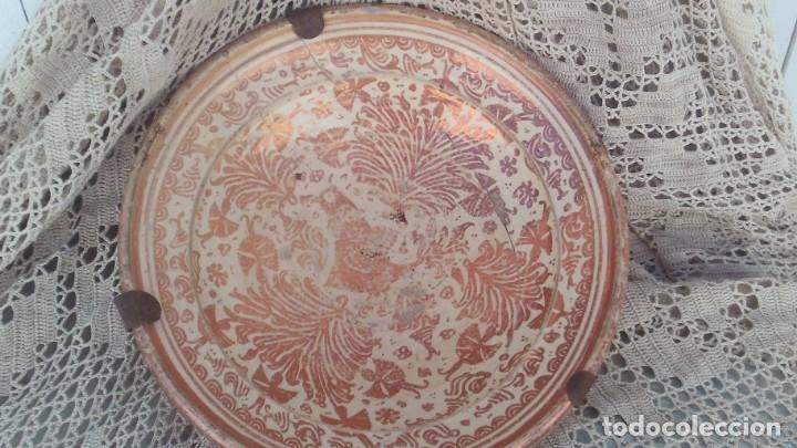 PLATO EN CERAMICA DE MANISES DE SIGLO XVII-XVII,REFLEJO METALICO BUEN TAMAÑO 38CM (Antigüedades - Porcelanas y Cerámicas - Manises)