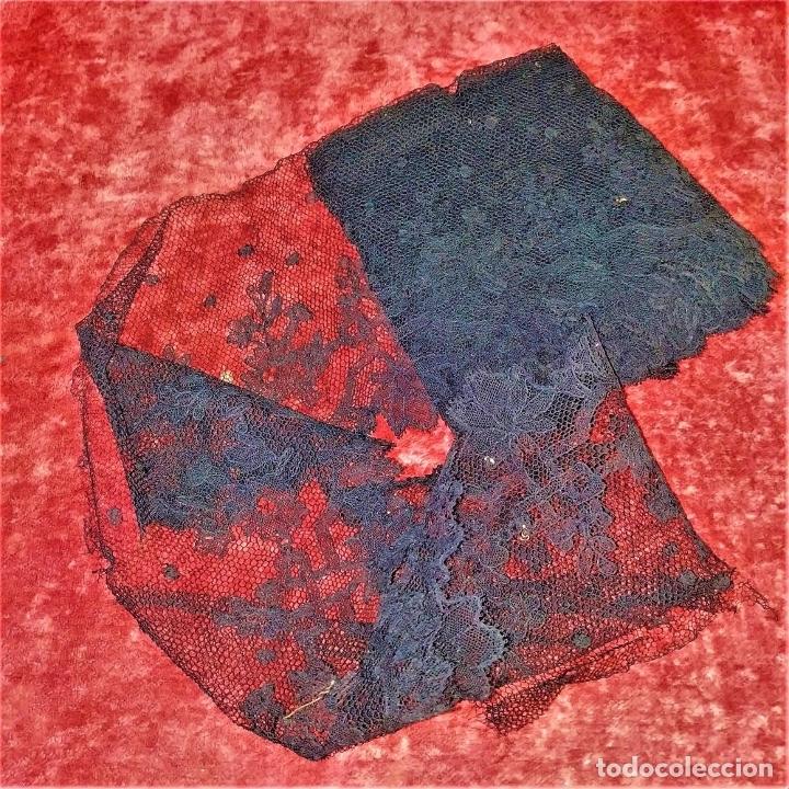 Antigüedades: BANDAS ENCAJE BORDADO A MANO A LA AGUJA. 637 CM. ESPAÑA. FIN SIGLO XIX - Foto 2 - 178035575