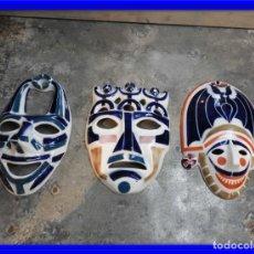 Antigüedades: MASCARAS DE PORCELANA DE SARGADELOS SON TRES ESTAN PERFECTAS. Lote 178035973