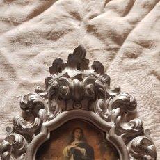 Antigüedades: MARCO DE YESO CON LAMINA RELIGIOSA. Lote 178046309