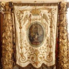 Antigüedades: ESTANDARTE DEL S. XIX. BORDADOS DE ORO SOBRE SEDA PARA TRASPASAR A OTROS ORNAMENTOS. 125 X 88 CM.. Lote 178066995