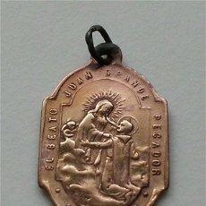 Antigüedades: ANTIGUA MEDALLA RELIGIOSA DEL BEATO JUAN GRANDE. ORDEN HOSPITALARIA DE SAN JUAN DE DIOS (SIGLO XIX). Lote 178099744