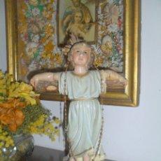Antigüedades: FIGURA DE ESCAYOLA, NIÑO JESÚS DE OLOT GERONA.. Lote 178117535