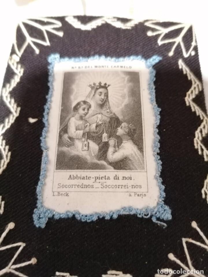 Antigüedades: Antiguo escapulario de Nª Señora del monte Carmelo - Foto 4 - 178133775