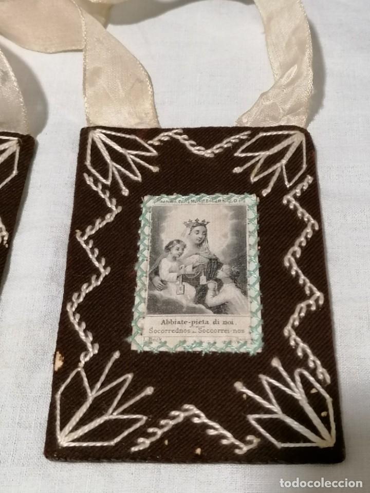 Antigüedades: Antiguo escapulario Nª señora Monte Carmelo. - Foto 2 - 178133944
