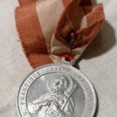 Antigüedades: ANTIGUO ESCAPULARIO CON MEDALLA RECUERDO DE CASTILLO DE JAVIER S. FRANCISCO XAVERI.. Lote 178155274