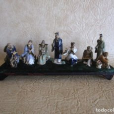 Antigüedades: DIORAMA ANTIGUAS FIGURAS PORCELANA CHINAS TAMAÑO PEQUEÑO FIGURA ASIATICA. Lote 147712022