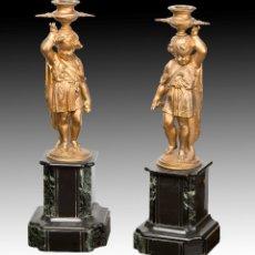 Antigüedades: PAREJA DE CANDELEROS. CALAMINA, MÁRMOL. FRANCIA, SIGLO XIX. . Lote 178177683