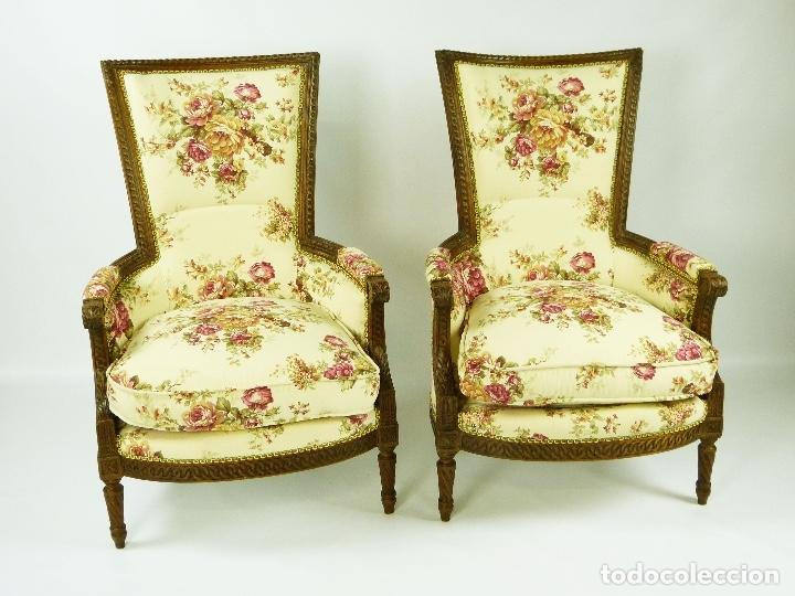 BUTACAS FRANCESAS ANTIGUAS LUIS XVI DEL SIGLO XVIII (Antigüedades - Muebles Antiguos - Sillones Antiguos)