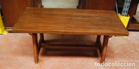 MESA BAJA DE MADERA RECTANGULAR EN ESTILO CASTELLANO (Antigüedades - Muebles Antiguos - Mesas Antiguas)