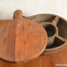 Antigüedades: ANTIGUO ESPECIERO SALERO EN MADERA TALLADA * 32CM X 24CM X 10CM. Lote 178220977