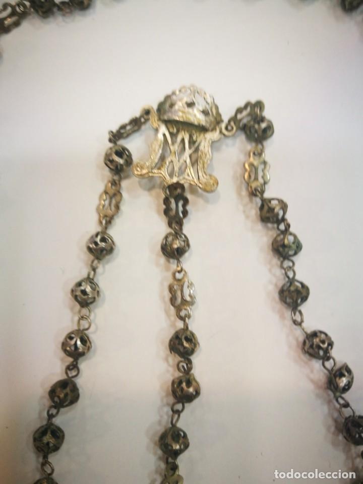 Antigüedades: Rosario de plata Cordobesa filigrana del siglo XIX 50 centímetros no lo he limpiado - Foto 3 - 178221988