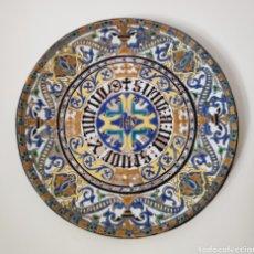 Antigüedades: ESPECTACULAR PLATO EN CUERDA SECA DE GRAN TAMAÑO EN CERAMICA DE TRIANA,(SEVILLA),S. XIX. Lote 178223351