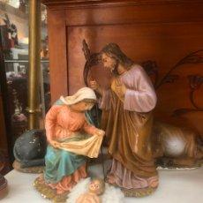 Antigüedades: ANTIGUO BELEN NACIMIENTO DE OLOT - MEDIDA SAN JOSE 22,5 Y VIRGEN 16 CM - RELIGIOSO. Lote 178228345