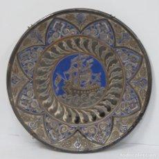 Antigüedades: ANTIGUO PLATO DE CUERDA SECA. ESPAÑA. FINALES SIGLO XIX. GRAN TAMAÑO. Lote 178228471
