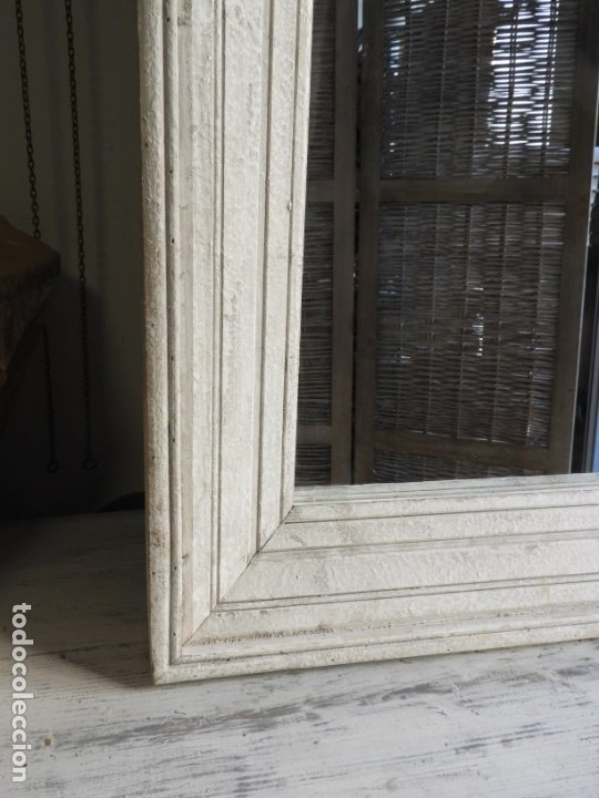 Antigüedades: ESPEJO CON MARCO DE MADERA BLANCA EN DECAPE MUY BONITO 94 X 76 CM - Foto 5 - 178258205