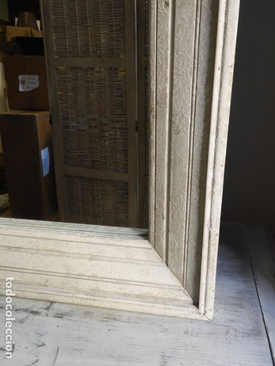 Antigüedades: ESPEJO CON MARCO DE MADERA BLANCA EN DECAPE MUY BONITO 94 X 76 CM - Foto 7 - 178258205