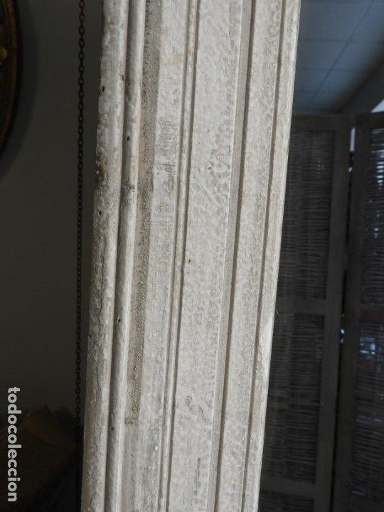 Antigüedades: ESPEJO CON MARCO DE MADERA BLANCA EN DECAPE MUY BONITO 94 X 76 CM - Foto 8 - 178258205