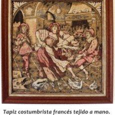 Antigüedades: TAPIZ COSTUMBRISTA FRANCÉS ANTIGUO DE 54X54 CM. Lote 178275150