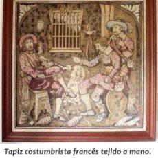 Antigüedades: TAPIZ COSTUMBRISTA FRANCÉS ANTIGUO DE 54X54 CM. Lote 178275318