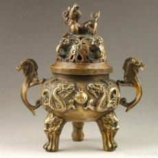 Antigüedades: QUEMADOR DE INCIENSO, INCENSARIO DE BRONCE, DRAGONES Y LEONES, SELLO. Lote 178301780