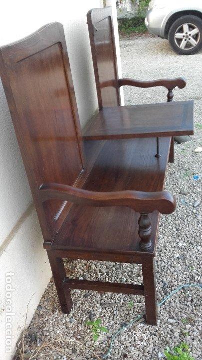 Antigüedades: Banco escaño con mesa, elemento típico del caserío vasco - Foto 3 - 178312493