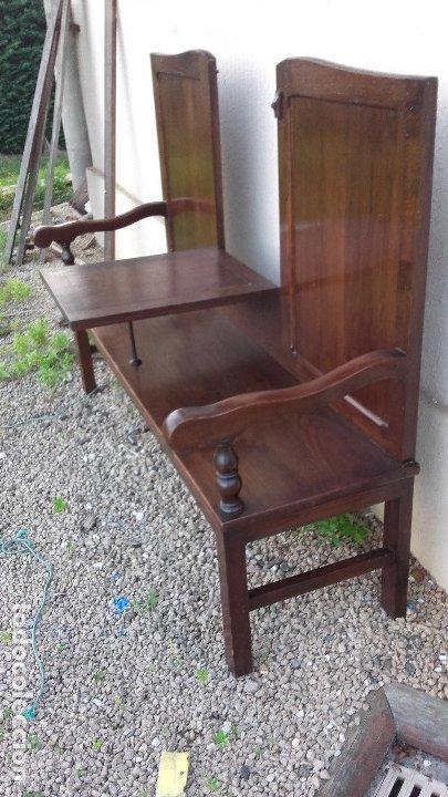 Antigüedades: Banco escaño con mesa, elemento típico del caserío vasco - Foto 4 - 178312493