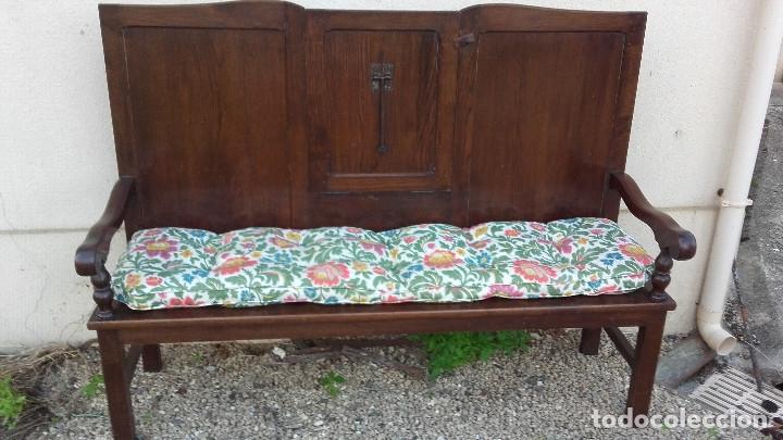 Antigüedades: Banco escaño con mesa, elemento típico del caserío vasco - Foto 5 - 178312493