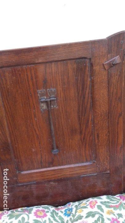 Antigüedades: Banco escaño con mesa, elemento típico del caserío vasco - Foto 6 - 178312493