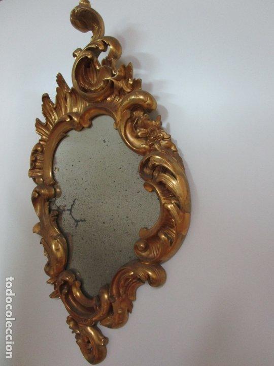 Antigüedades: Cornucopia Barroca - madera Tallada y Dorada en Pan de Oro - Espejo Plateado - S. XVIII - Foto 2 - 178329696