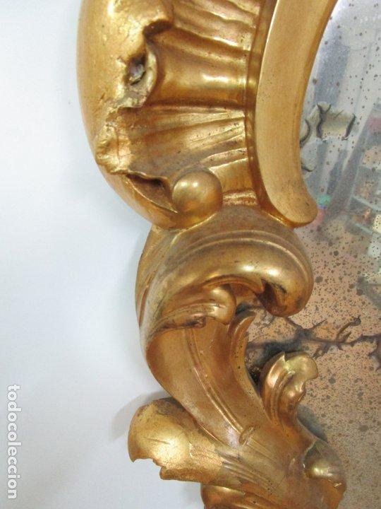 Antigüedades: Cornucopia Barroca - madera Tallada y Dorada en Pan de Oro - Espejo Plateado - S. XVIII - Foto 8 - 178329696
