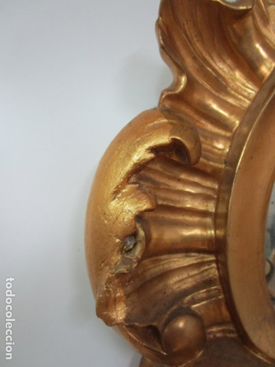 Antigüedades: Cornucopia Barroca - madera Tallada y Dorada en Pan de Oro - Espejo Plateado - S. XVIII - Foto 9 - 178329696