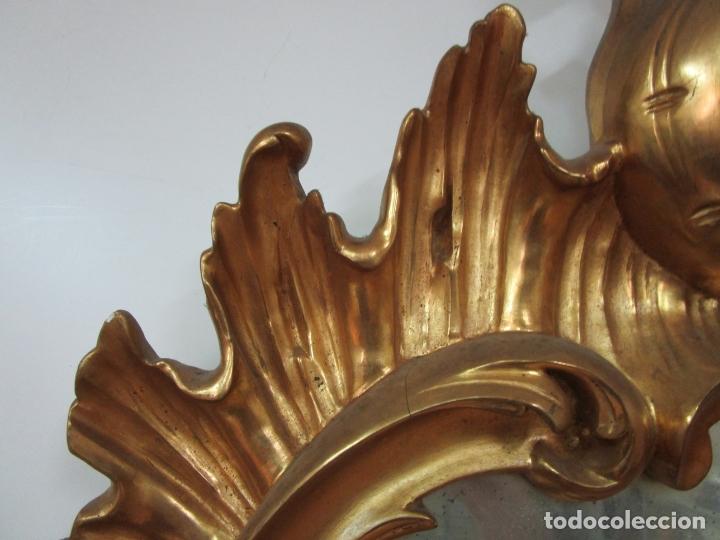 Antigüedades: Cornucopia Barroca - madera Tallada y Dorada en Pan de Oro - Espejo Plateado - S. XVIII - Foto 10 - 178329696