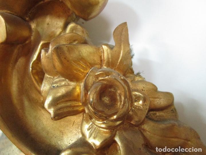 Antigüedades: Cornucopia Barroca - madera Tallada y Dorada en Pan de Oro - Espejo Plateado - S. XVIII - Foto 13 - 178329696