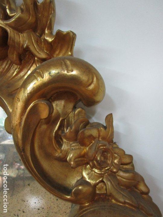 Antigüedades: Cornucopia Barroca - madera Tallada y Dorada en Pan de Oro - Espejo Plateado - S. XVIII - Foto 14 - 178329696